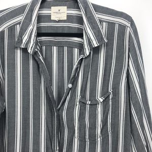 American eagle button down shirt striped large
